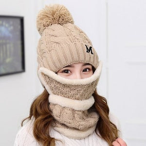 7611 - Knitted 3 Piece Set: Hat, Wind-stopper, Face Mask
