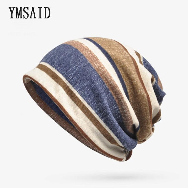 7660d4b84da Ymsaid Autumn Turban Hats Women Beanie Stripes Men Skullies Beanies Hedging Cap  Knit Caps Bonnet Bib