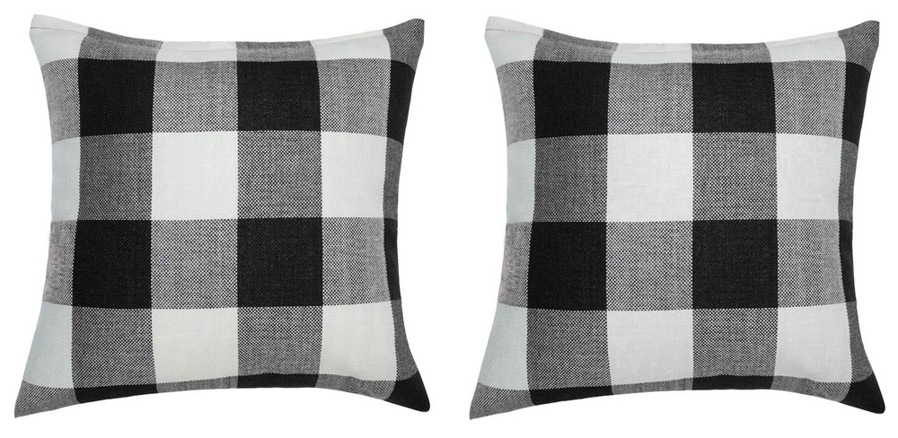 SET OF TWO BLACK AND WHITE CHECK THROW PILLOW COVERS