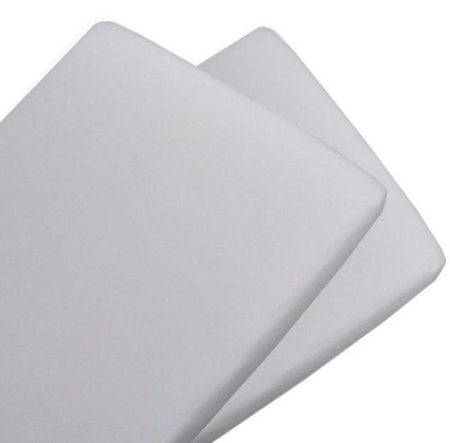 Living Textiles 2 Pack Cotton Jersey Bassinet Fitted Sheet - White/White - www.bebebits.com.au