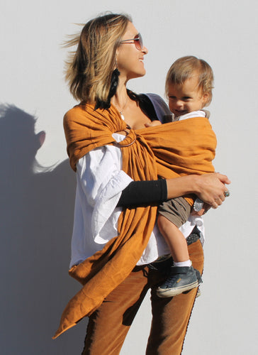 hug-a-bub® Organic Traditional Ring Sling – Earth - www.bebebits.com.au