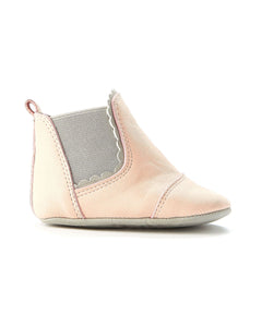 Walnut Melbourne Wilder Leather Bootee - Blush - www.bebebits.com.au