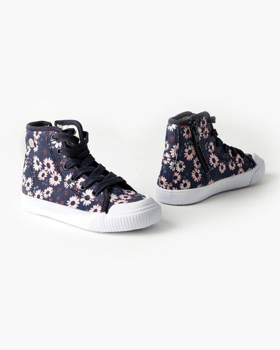 Walnut Melbourne Play Mini Hightop - Daisy Navy - www.bebebits.com.au