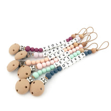 Load image into Gallery viewer, Nature Bubz Say my Name dummy clip/soother holder - PERSONALIZED