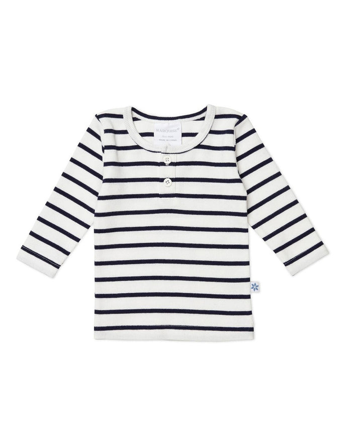 Marquise Long Sleeve Top - Blue Stripe