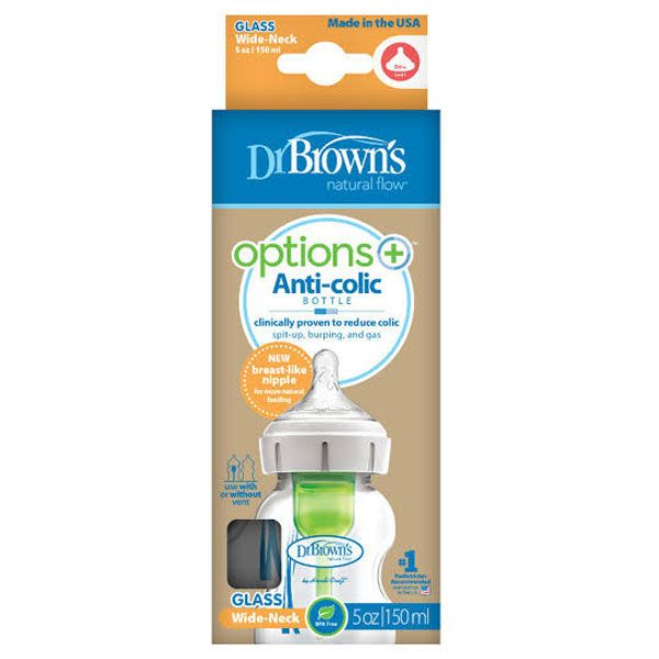 Dr. Brown's™ Options+™ GLASS Wide-Neck Baby Bottle - assorted sizes