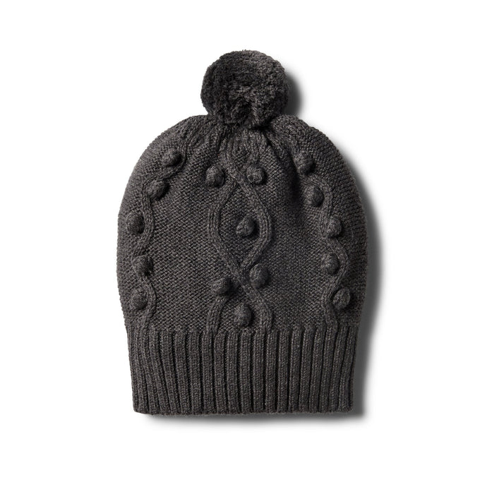 W+F Storm Grey Knitted Hat with Baubles