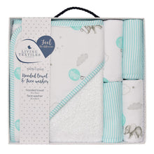 Load image into Gallery viewer, Living Textiles Hooded Towel & Face Washers 5PC Set