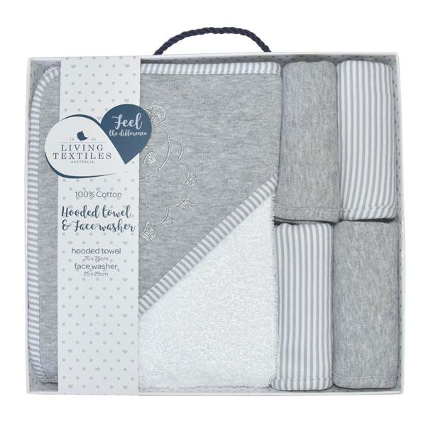 Living Textiles Hooded Towel & Face Washers 5PC Set