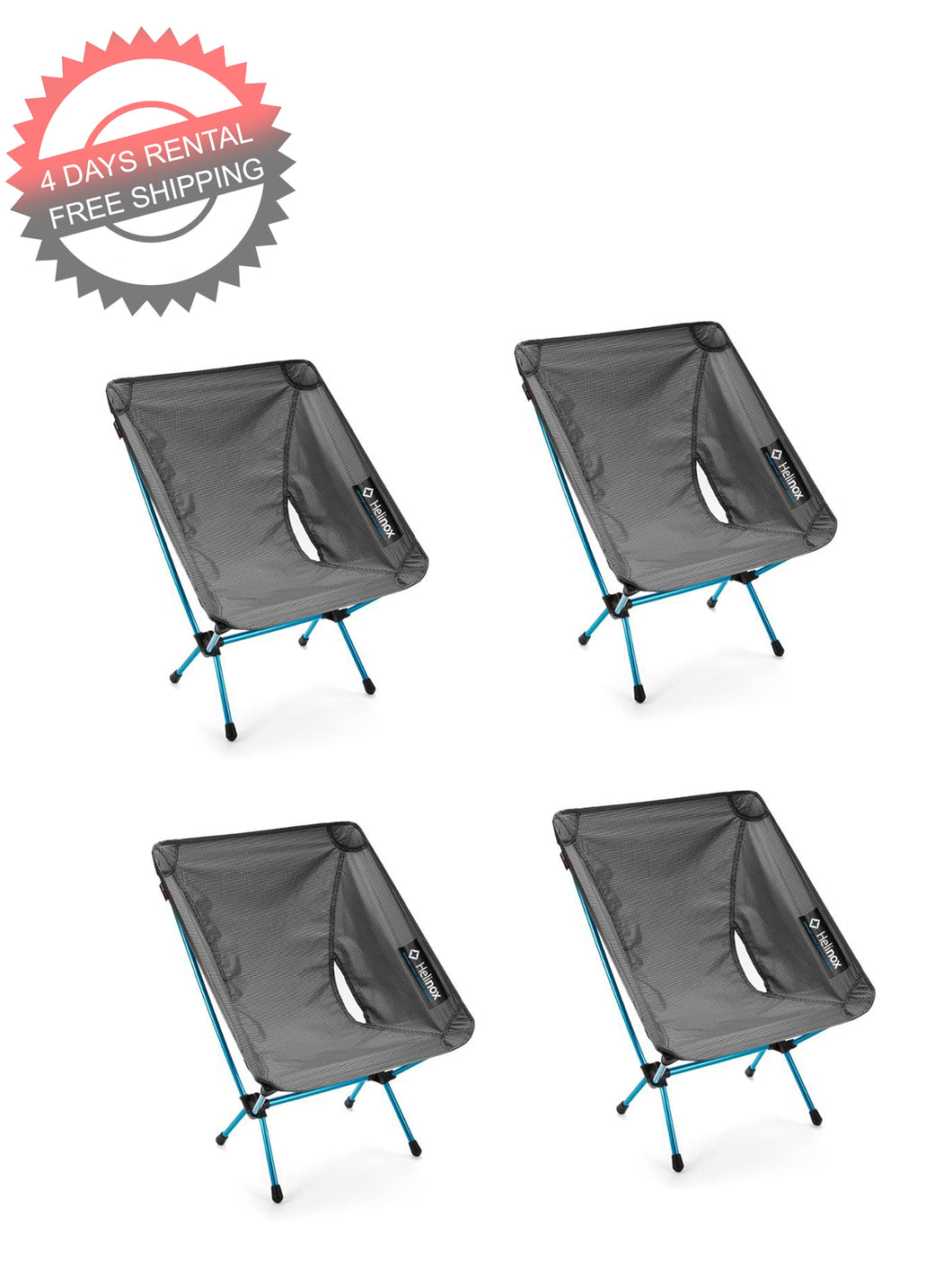4 x Helinox Chair Zero (4 Days Rental and FREE Shipping)