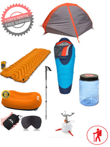 1 Person Lightweight Backpacking Set (4 Days Rental and FREE Shipping)
