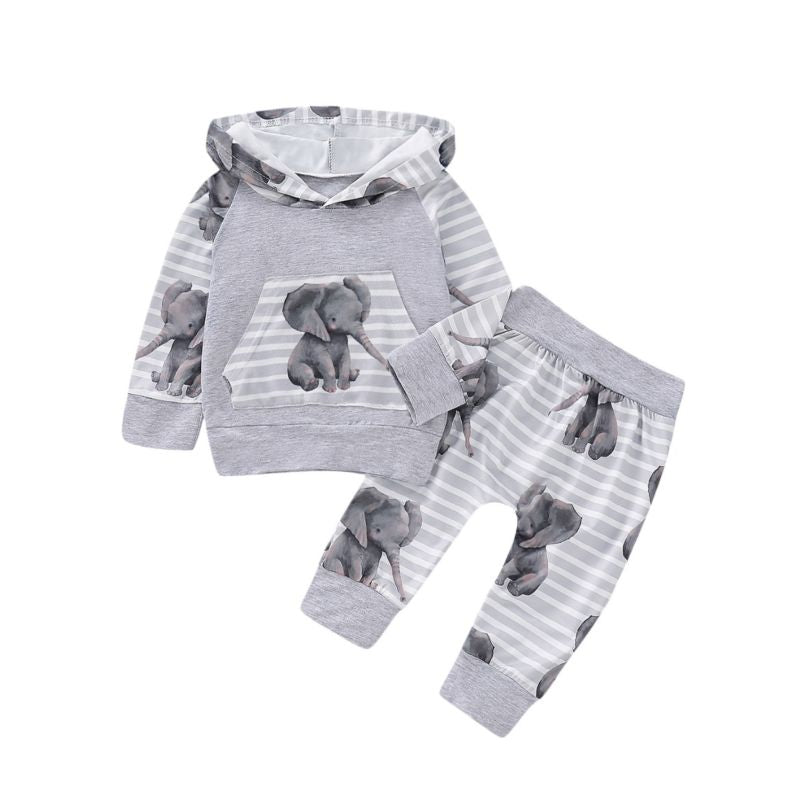 Riley- Elephant Printed Set - Terrible Twos Boutique