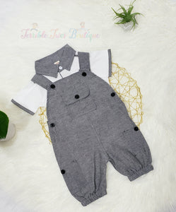 Lucas- Suspender with Polo Tee Set - Terrible Twos Boutique