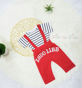Joshua- Animal Style Suspender Set - Terrible Twos Boutique