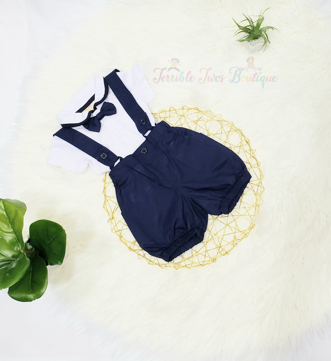 Andrew- BowTie Suspender Short Set - Terrible Twos Boutique