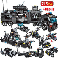715Pcs City Police Station Car Toy For Boys