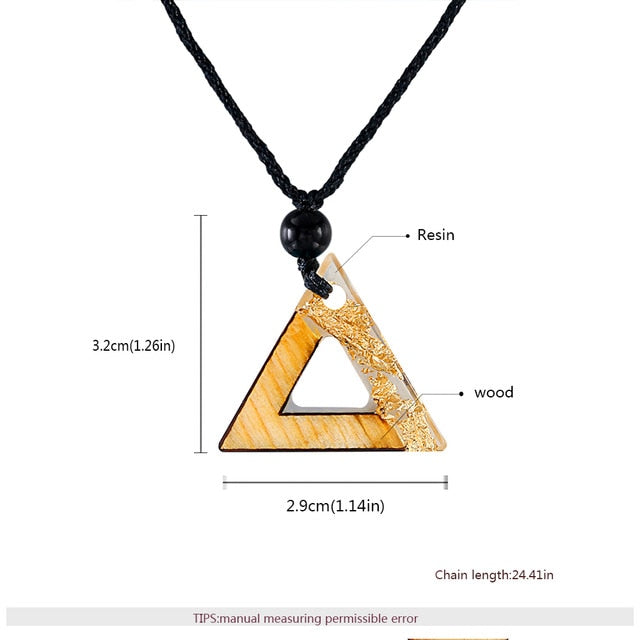 Triangle Resin Wood Pendant Necklace - Shop For Gamers