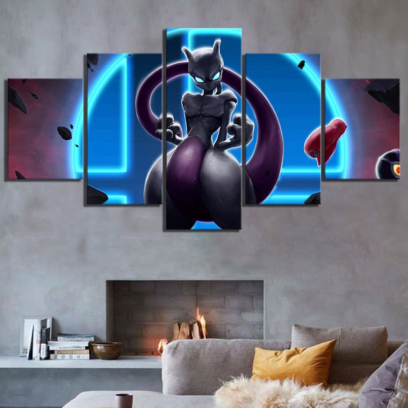 Anime Pokemon Mewtwo Monster Wall Canvas Art Poster - Shop For Gamers