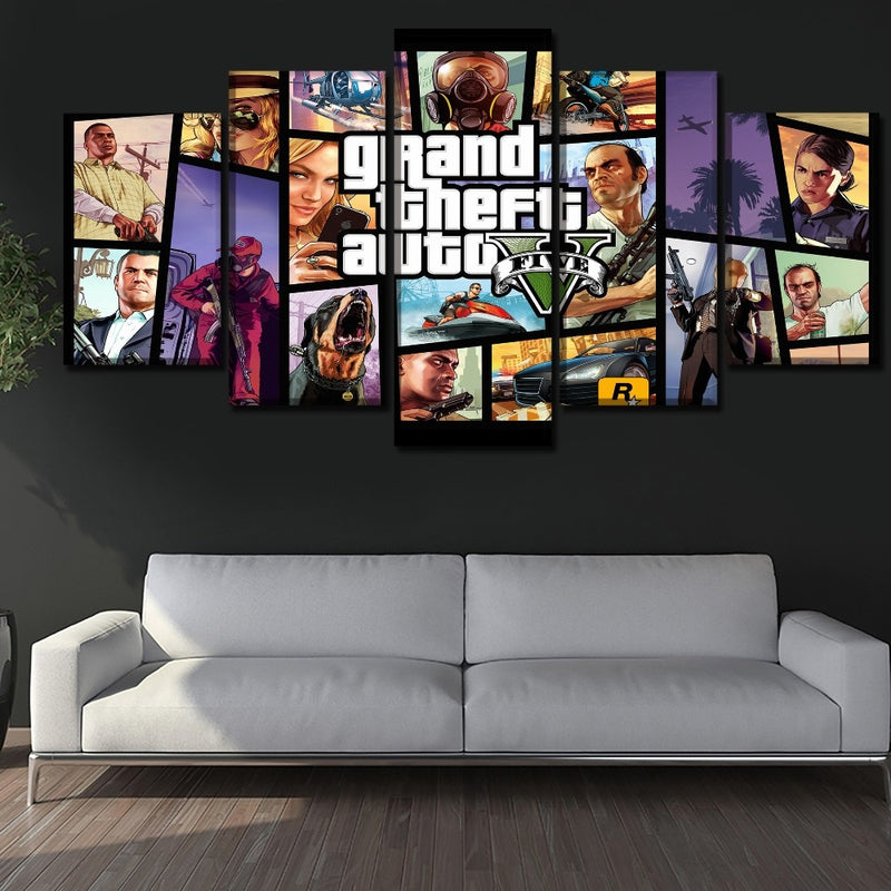 GTA V Wall 5 Pieces Framework Paintings Poster - Shop For Gamers