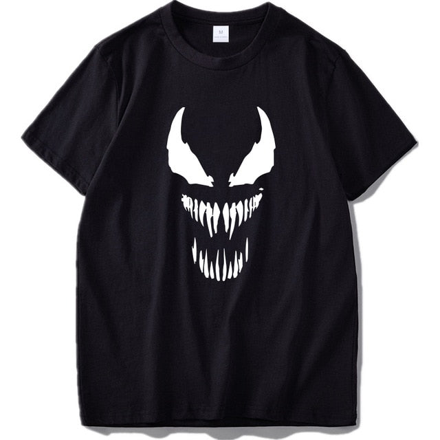 Marvel Characters White Face Black Cotton T-Shirt - Shop For Gamers