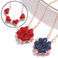 Red Blue Double Sided Four Heart Necklaces - Shop For Gamers