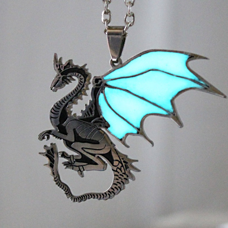 Glowing Steel Game of Thrones Dragon Necklace - Shop For Gamers