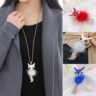 Feather Cute Fox Pendant Necklace - Shop For Gamers