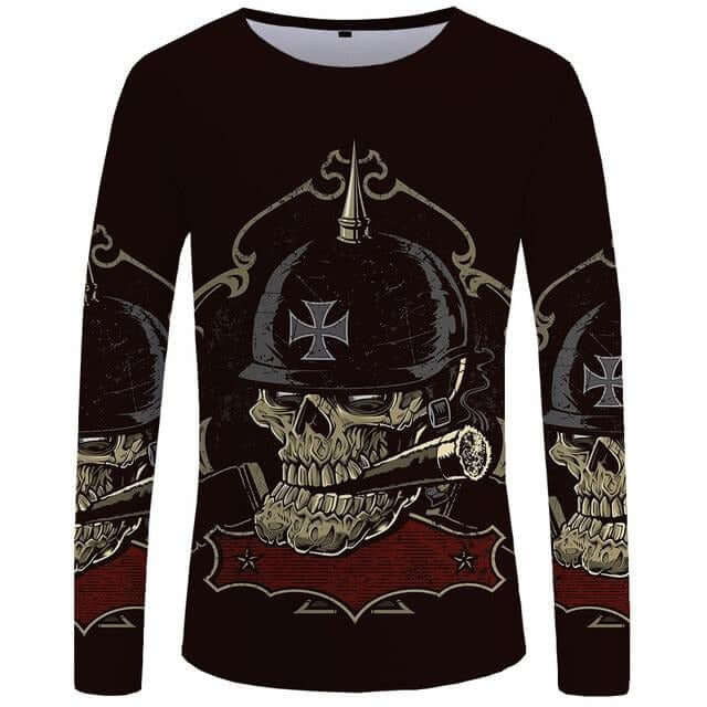 Skull Motorcycle Long Sleeve T-Shirt - Shop For Gamers