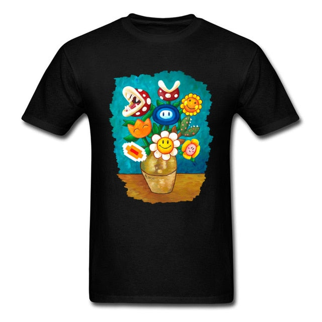 Mario Van Gogh Flowers T-Shirt - Shop For Gamers