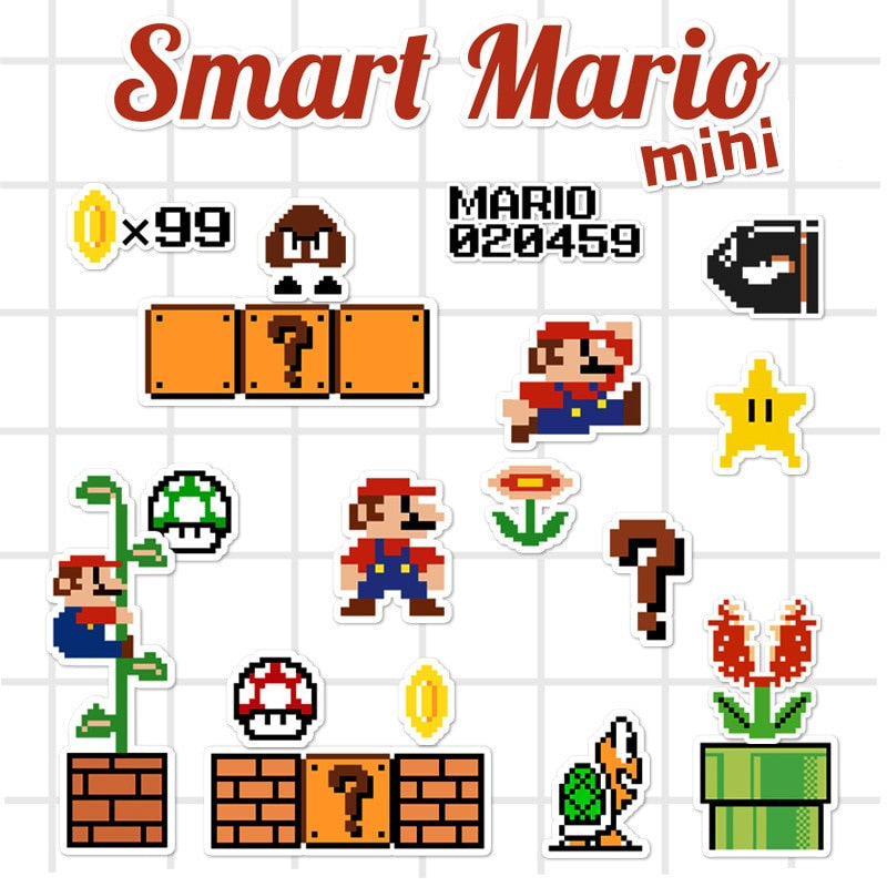 Mini Super Mario Cartoon Game Stickers - Shop For Gamers