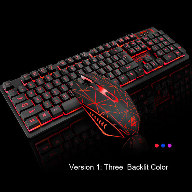 K-13 104 Keys Gaming Keyboard Mouse Rainbow LED Backlit - Shop For Gamers