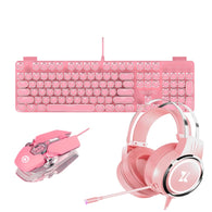 Pink Gaming Keyboard Mouse Headset Combo - Shop For Gamers