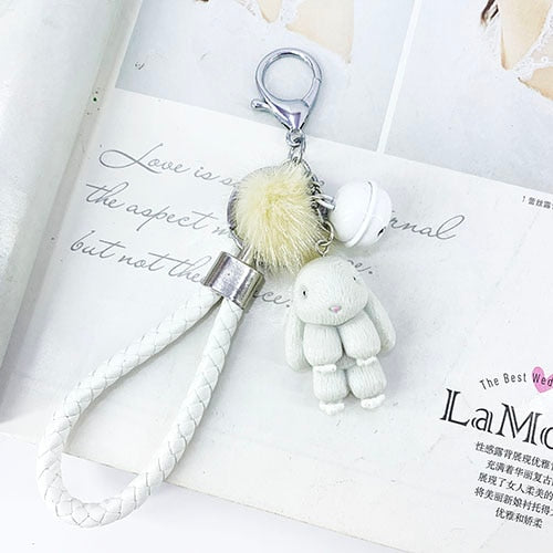 Fluffy Fur Rabbit Keychain - Shop For Gamers