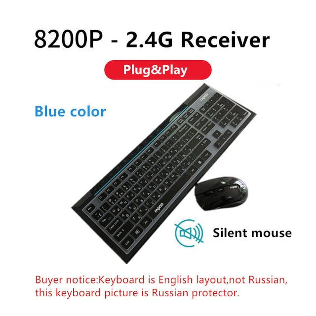 Rapoo 8200 Multimedia Wireless Keyboard Mouse Combo - Shop For Gamers