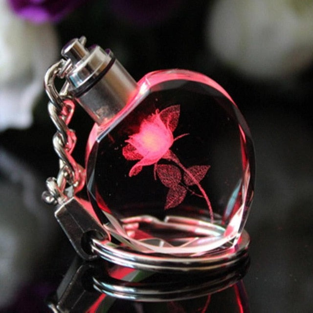 Peach Heart LED Light Crystal Keychain - Shop For Gamers