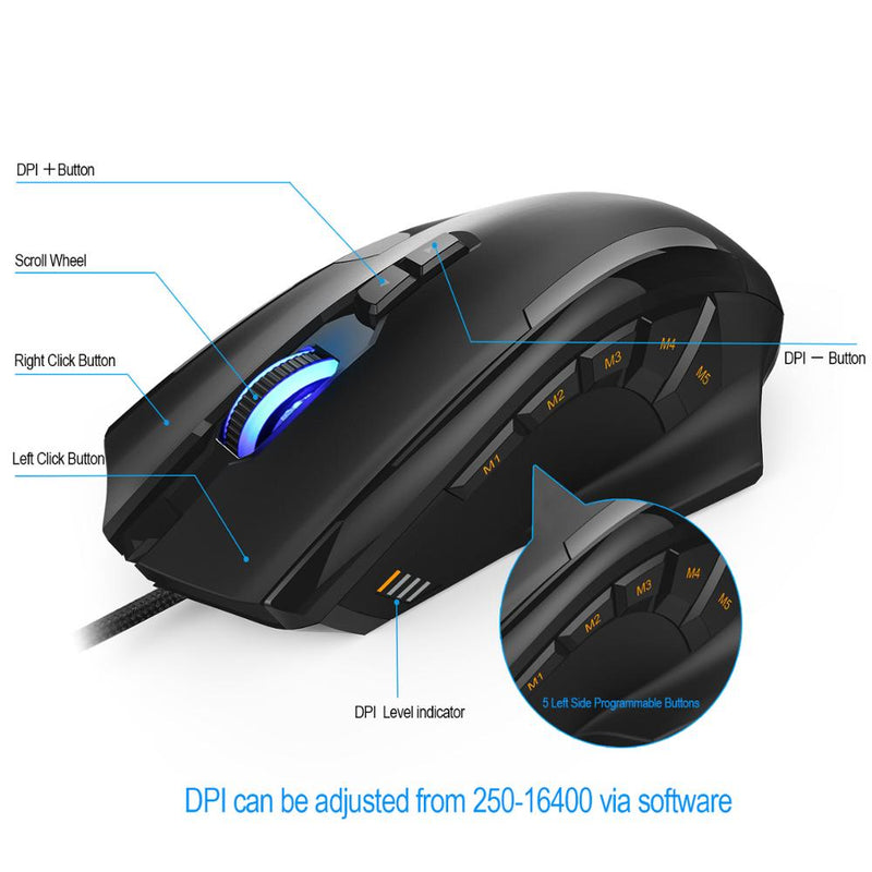 TeckNet M009-Black-V2 Wired Gaming Mouse - Shop For Gamers