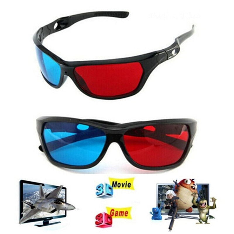 Universal 3D Plastic Glasses Red Blue Black Frame - Shop For Gamers