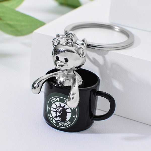 New York Bear In Cup Keychain