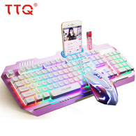 TTQ USB Gaming Keyboard Mouse Razer Led gaming mouse Mechanical Feel keyboard set wired 2000DPI