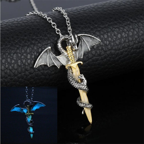 Luminous Jewelry Dragon Sword Pendant Necklace - Shop For Gamers