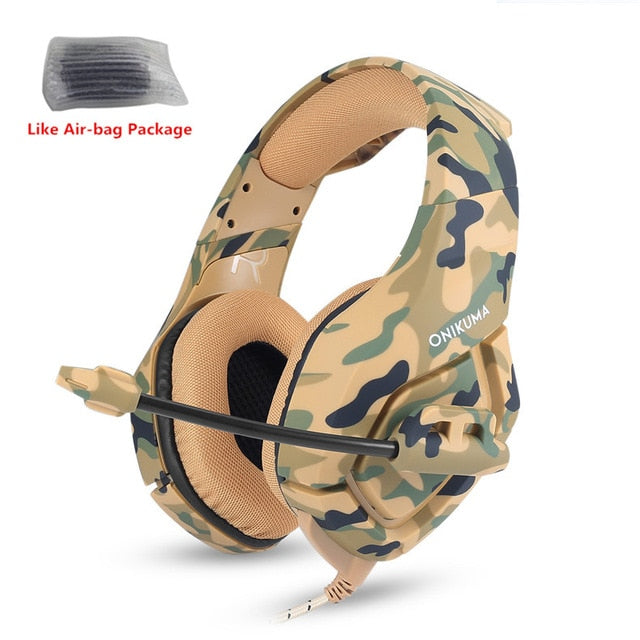 ONIKUMA K1 Camouflage Headset Bass Casque with Mic - Shop For Gamers