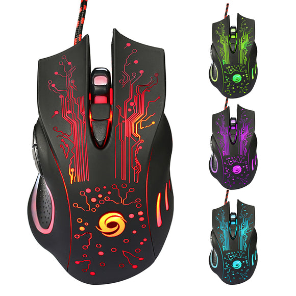 6D USB Wired Gaming Mouse 3200DPI 6 Buttons LED Optical Professional - Shop For Gamers