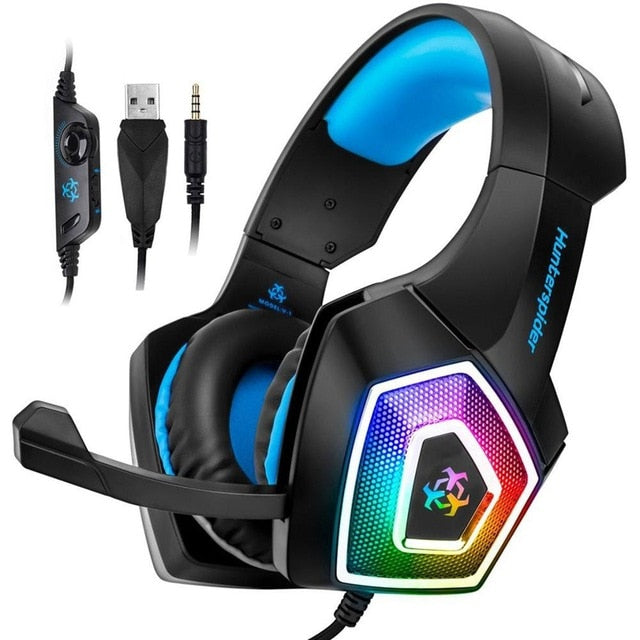 Hunterspider V1 Stereo Gaming Headset Casque Surround Sound Over-Ear with Mic LED Light - Shop For Gamers