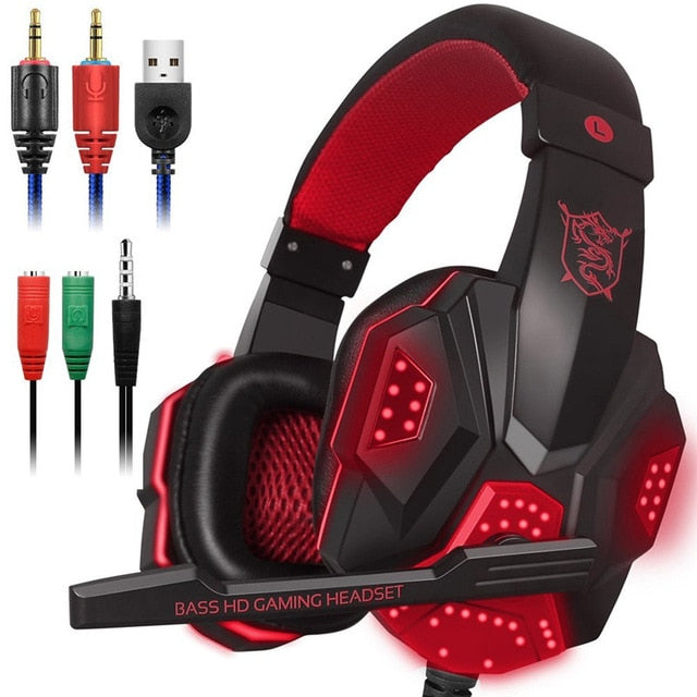 Stereo Gaming Headset Surround Sound Over-Ear with Mic Noise Cancelling LED Lights - Shop For Gamers