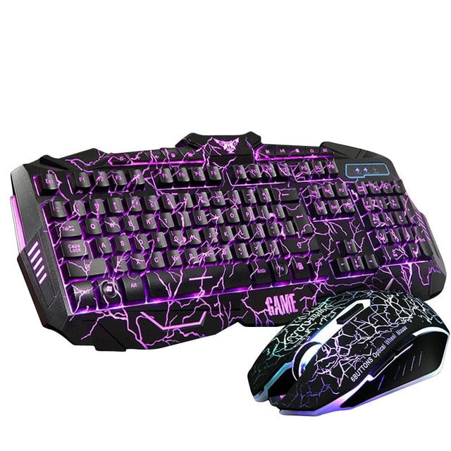 Russian Keyboard Changeable LED with Color Luminous Backlit Multimedia Ergonomic Keyboard/Mouse - Shop For Gamers