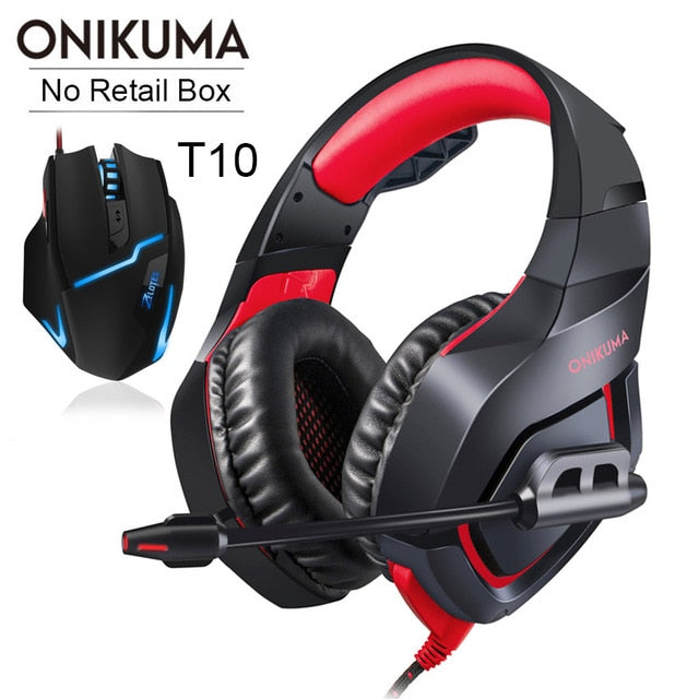 ONIKUMA PS4 Headset Casque Bass Gaming Headphones with Microphone + Pro Wired USB Gaming Mouse - Shop For Gamers