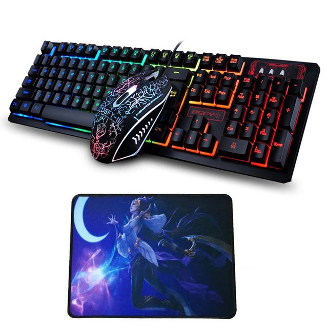 Multimedia Ergonomic Gaming Keyboard + 2400DPI Optical Gaming Mouse & Mouse Pad - Shop For Gamers