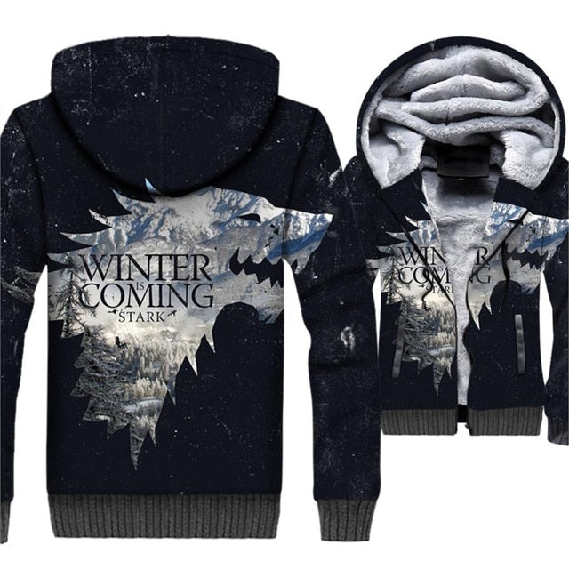 Wolf 3D Men's Game Of Thrones Hoddie