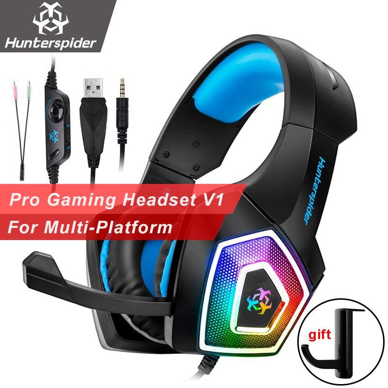 Hunterspider V1 Ps4 Gaming Headset Casque Wired Pc Stereo With Mic