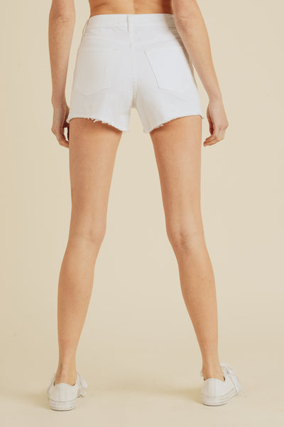 White High Rise Cut off Shorts back view